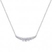 Gabriel & Co. 14k White Gold Graduating Curved Bar Diamond Necklace