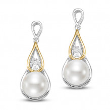 Mastaloni Ladies 18k Two Tone Single Freshwater Pearl Drop Earrings