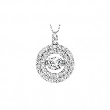 14K White Gold 1ct Diamond Rhythm Of Love Pendant ( 1/2ct center stone)
