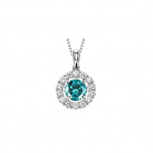 14K White Gold 3/4ct Blue & White Diamond Rhythm Of Love Pendant