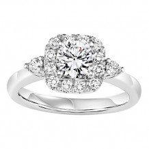 14k White Gold 1/2ct Diamond Engagement Ring with 3/4ct Center Stone