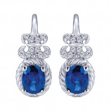 14k White Gold Gabriel & Co. Blue Sapphire Diamond Drop Earrings