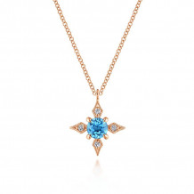 Gabriel 14K Rose Gold Color Solitaire Blue Topaz Necklace NK5727K45BT