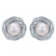 14k White Gold Gabriel & Co. Diamond Pearl Stud Earrings