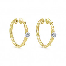 14k Yellow Gold Gabriel & Co. Diamond Hoop Earrings