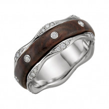 Stuller Platinum Diamond & Kingwood Inlay Men's Wedding Band