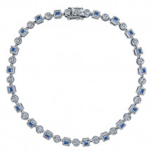 14k White Gold Gabriel & Co. Diamond And Sapphire Tennis Bracelet