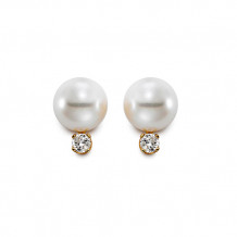 Mastaloni 14k Yellow Gold Cultured Pearl and Diamond Stud Earrings