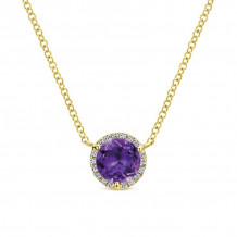 Gabriel 14K Yellow Gold Lusso Color Amethyst Necklace NK4616Y45AM