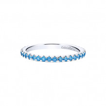 Gabriel & Co. 14k White Gold Blue Sapphire and Blue Topaz Stackable Ring