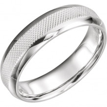 Stuller 14k White Gold Knurl Design Wedding Band