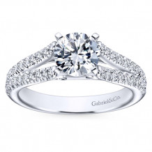 Gabriel & Co 14k White Gold Round Split Shank Engagement Ring