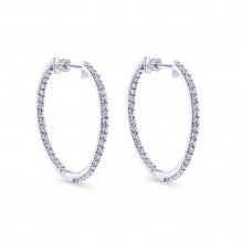 14k White Gold Gabriel & Co. Diamond Hoop Earrings