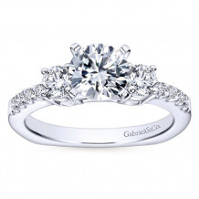 Gabriel & Co 14k White Gold Round 3 Stones Engagement Ring