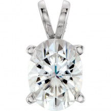 Stuller 14k White Gold Oval Forever One Moissanite Pendant