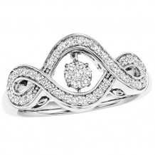 10K White Gold 1/3ct Diamond Rhythm Of Love Ring
