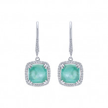 14k White Gold Gabriel & Co. Green Mother of Pearl Diamond Drop Earrings