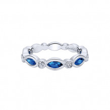 Gabriel & Co. 14k White Gold Blue Sapphire and Diamond Ring