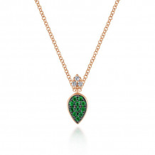 Gabriel 14K Rose Gold Gem Drops Emerald Necklace NK5752K45EA