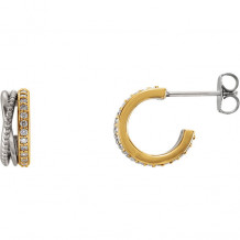 Stuller 14k Two Tone Gold Beaded Diamond Hoop Earrings