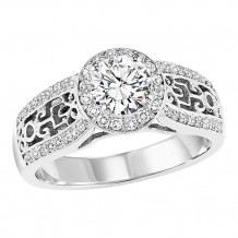 14k White Gold 1/3ct Diamond Engagement Ring with 3/4ct Center Stone