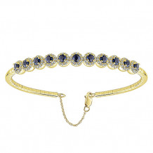 14k Yellow Gold Gabriel & Co. Sapphire and Diamond Bangle Bracelet