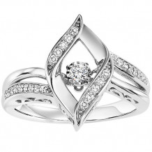 Sterling Silver 1/7ct Diamond Rhythm Of Love Ring